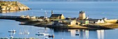 France, Regional Natural Armoric Park, Camaret-sur-Mer, Camaret sur Mer global overview of the old buildings including the Vauban tower, listed as World Heritage by UNESCO
