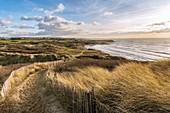 France, Pas de Calais, Opal Coast, Wimereux, the Slack dunes near Ambleteuse (Opal Coast, Great Site of the two Caps), view of the Pointe aux Oies and the village of Wimereux