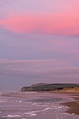 France, Pas de Calais, Opal Coast, Wissant, view of the cape Blanc nez at dusk with the sky tinged with pink