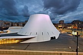 France, Seine Maritime, Le Havre, Downtown rebuilt by Auguste Perret listed as World Heritage by UNESCO, the cultural center called Volcano created by Oscar Niemeyer