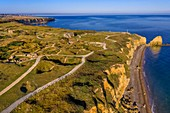 France, Calvados, Cricqueville en Bessin, Pointe du Hoc, ruins of German fortifications and bomb holes made by the Normandy landings of June 6 1944 during the Second World War (aerial view)