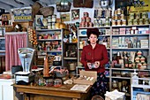 France, Manche, Carentan, L'Atelier, the wartime groceries café, reconstituted by collectors of 1940s military and civilian objects Sylvie and Jean-Marie Caillard, Sylvie Caillard