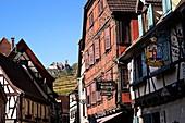 France, Haut Rhin, Ribeauvillé, Grand Rue and St Ulrich castle