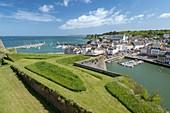 France, Morbihan, Belle-Ile island, le Palais, the port of the Palace seen from the citadel Vauban