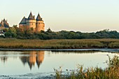 France, Morbihan, Sarzeau, the castle of Suscinio on the peninsula of Rhuys at sunrise