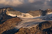 France, Hautes Alpes, the Grave, from the Emparis plateau, view of the western peak of the Rateau, the pass and the glacier of the Girose