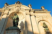 France, Meurthe et Moselle, Nancy, statue of Jacques Callot on Place Vaudemont (Vaudemont square) close to Stanislas square (former royal square) built by Stanislas Lescynski, king of Poland and last duke of Lorraine in the 18th century, listed as World Heritage by UNESCO,