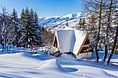 France, Savoie, Vanoise massif, valley of Haute Tarentaise, Les Arcs 1600, part of the Paradiski area, view of the Beaufortain massif