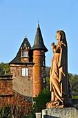 France, Correze, Collonges la Rouge, labelled Les Plus Beaux Villages de France (The Most Beautiful Villages of France), village built in red sandstone