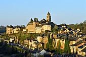 France, Correze, Vezere valley, Limousin, Uzerche, labelled Les Plus Beaux Villages de France (The Most Beautiful Villages in France), view of the village, Saint Pierre church and the Vezere river