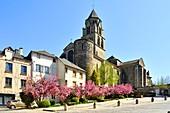 France, Correze, Vezere valley, Limousin, Uzerche, labelled Les Plus Beaux Villages de France (The Most Beautiful Villages in France), place de la Liberation, Saint Pierre church