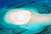 France, Mayotte island (French overseas department), Grande Terre, M'Tsamoudou, islet of white sand on the coral reef in the lagoon facing Saziley Point (aerial view)