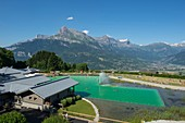 France, Haute Savoie, Mont Blanc, Combloux, the ecological water body and the Fiz massif
