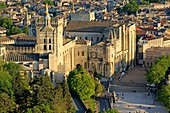 France, Vaucluse, Avignon, the Palais of the Popes (XIV), classified as World Heritage by UNESCO (aerial view)
