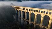 France, Bouches du Rhone, Aix-en-Provence, Ventabren, Marseille Canal, Roquefavour aqueduct (19th century), listed as a Historic Monument (aerial view)