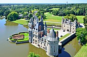 France, Loire Atlantique, Missillac, Briere natural regional park, the castle of la Bretesche and its golf, luxury hotel belonging to the group Relais et Chateaux (aerial view)