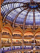 France, Paris, the Galeries Lafayette department store on boulevard Haussmann, glass roof of the dome