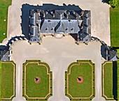 France, Aube, La Motte Tilly, the castle of La Motte Tilly (aerial view)