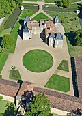 France, Gironde, Margaux, Chateau d'Issan,3rd growth Margaux (aerial view)