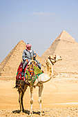 Three pyramids, monuments and burial tombs of the pharaohs Khufu, Khafre, and Menkaure, a tourist guide riding a camel