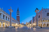 St Mark's Square lit up at night, Venice, Italy.
