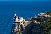 The Swallow's Nest castle perched on Aurora Cliff, Yalta, Crimea, Ukraine, Europe
