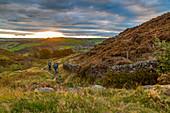 View of sunset from Baslow Edge, Derbyshire Peak District, Derbyshire, England, United Kingdom, Europe