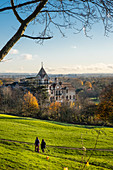 View across Terrace Field and Petersham Meadows to the River Thames, with woodland, and public footpath in autumn, Richmond Hill, London, England, United Kingdom, Europe