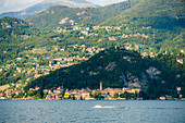 Varenna and villages on hills seen from ferry boat, Lake Como, Lecco province, Lombardy, Italian Lakes, Italy, Europe