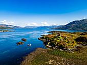Aerial of Caisteal Maol, Kyleakin, Isle of Skye, Inner Hebrides, Scotland, United Kingdom, Europe