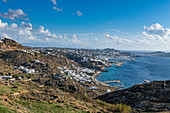 View over Mykonos, Cyclades, Greek Islands, Greece, Europe
