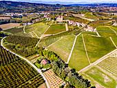 Aerial of the vineyards around Castle of Grinzane Cavour, Barolo wine region, UNESCO World Heritage Site, Piedmont, Italy, Europe