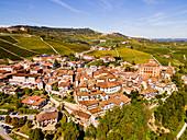 Aerial of the vineyards around Barolo, UNESCO World Heritage Site, Piedmont, Italy, Europe