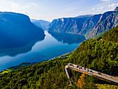 Viewing platform Stegastein overlooking Aurlandsfjord, Aurland, Norway, Scandinavia, Europe