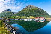 Mountain refelcted in the water, Kystriksveien Coastal Road, Norway, Scandinavia, Europe