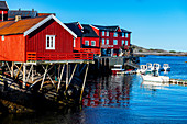 Typical red houses in the village of A, Lofoten, Nordland, Norway, Scandinavia, Europe