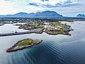 Aerial of the tourist information center, UNESCO World Heritage Site, the Vega Archipelago, Norway, Scandinavia, Europe