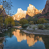 Abraham and Isaac Peaks reflected in the Virgin River at sunrise, autumn, Court of the Patriarchs, Zion National Park, Utah, United States of America, North America