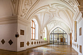 Walkway in the Scheyern Monastery, Upper Bavaria, Bavaria, Germany
