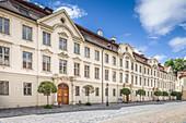 Historic houses on Residenzplatz in Eichstaett, Upper Bavaria, Bavaria, Germany