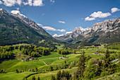Berchtesgaden Alps as seen from the brine pipeline path near Ramsau, Upper Bavaria, Bavaria, Germany