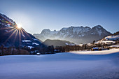 Summit of the Reiter Alm in the Berchtesgaden Alps as seen from Ramsau, Upper Bavaria, Bavaria, Germany