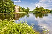 Badenburg Lake with Apollo Temple in Nymphenburg Palace, Upper Bavaria, Bavaria, Germany