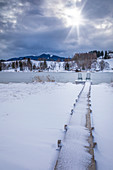 Jetty on the shore of Lake Bayersoien, Bad Bayersoin, Upper Bavaria, Bavaria, Germany
