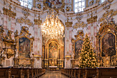 Interior of the Basilica of the Assumption of the Virgin of the Ettal Benedictine Abbey with Christmas tree, Ettal, Upper Bavaria, Bavaria, Germany