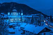Benedictine Abbey Ettal at the blue hour, Ettal, Upper Bavaria, Bavaria, Germany