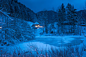 Winter landscape at the Benedictine Abbey Ettal at the blue hour, Ettal, Upper Bavaria, Bavaria, Germany