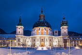 Basilica of the Assumption of the Assumption of the Benedictine Abbey Ettal at the blue hour, Ettal, Upper Bavaria, Bavaria, Germany