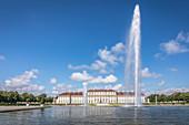 New Schleißheim Palace with a large fountain, Oberschleißheim, Upper Bavaria, Bavaria, Germany