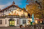 Garden restaurant in Schliersee, Upper Bavaria, Bavaria, Germany